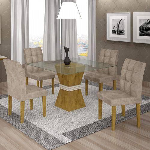 Conjunto Sala de Jantar Mesa Tampo de Vidro 4 Cadeiras Vitória Cel Móveis Ypê/Off White/Pena 84