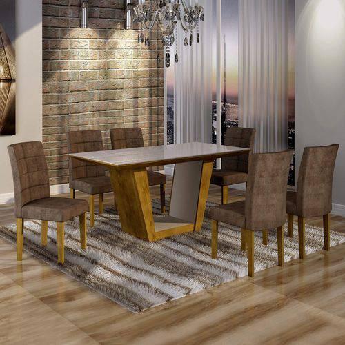 Conjunto Sala de Jantar Mesa Tampo de Vidro 6 Cadeiras Viggor Cel Móveis Ypê/Animale Marrom 52