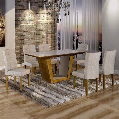 Conjunto Sala de Jantar Mesa Tampo de Vidro 6 Cadeiras Viggor Cel Móveis Ypê/Suede Cinza 90