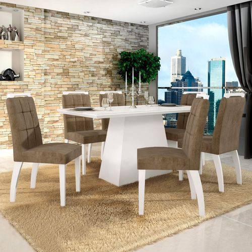 Conjunto Sala de Jantar Mesa Tampo de Vidro Branco 6 Cadeiras Málaga Leifer Branco/Capuccino