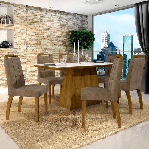 Conjunto Sala de Jantar Mesa Tampo de Vidro Branco 6 Cadeiras Málaga Leifer Imbuia