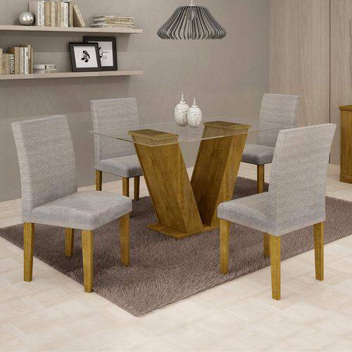 Conjunto Sala de Jantar Mesa Tampo de Vidro e 4 Cadeiras Classic Cel Móveis Ypê/Suede Cinza 90