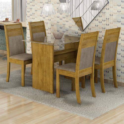 Conjunto Sala de Jantar Mesa Tampo em Vidro 4 Cadeiras Mariana Cel Móveis Ypê/ Suede Animale Bege