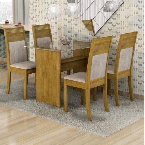 Conjunto Sala de Jantar Mesa Tampo em Vidro 4 Cadeiras Mariana Cel Móveis Ypê/ Suede Animale Cru