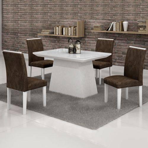 Conjunto Sala de Jantar Mesa Tampo em Vidro Branco 4 Cadeiras Sevilha 120cm Cel Móveis Branco/