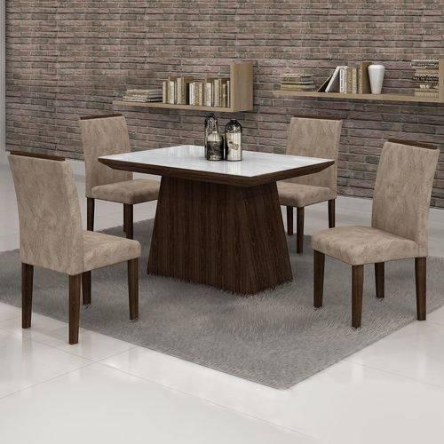 Conjunto Sala de Jantar Mesa Tampo em Vidro Branco 4 Cadeiras Sevilha 120cm Cel Móveis Malbec/