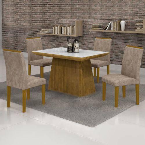 Conjunto Sala de Jantar Mesa Tampo em Vidro Branco 4 Cadeiras Sevilha 120cm Cel Móveis Ypê/ Suede