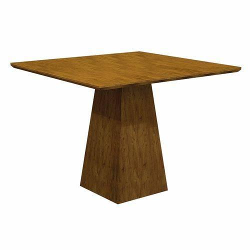 Conjunto Sala de Jantar Mesa Tampo MDF 4 Cadeiras Itália Leifer Canela/Linho Bege