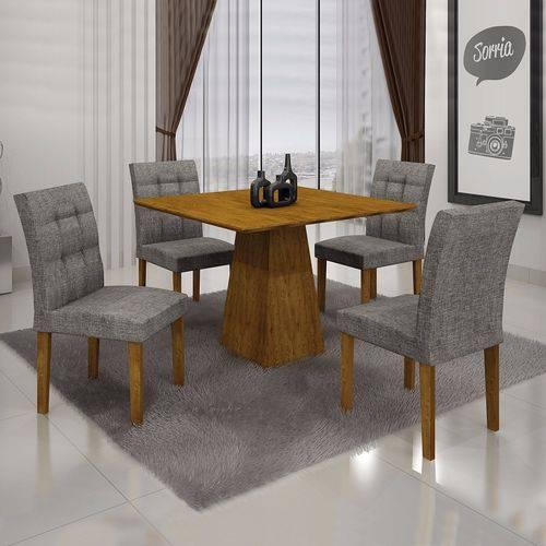 Conjunto Sala de Jantar Mesa Tampo MDF 4 Cadeiras Itália Leifer Canela/Linho Cinza