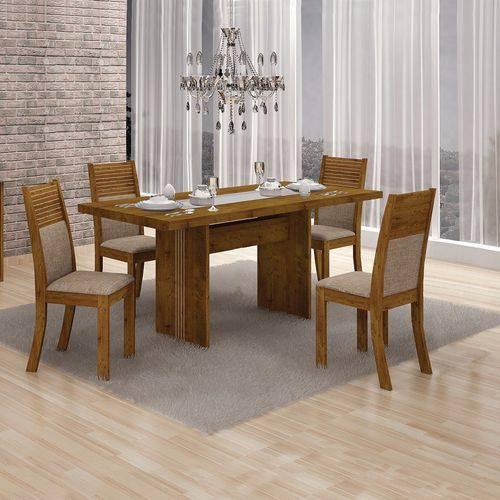 Conjunto Sala de Jantar Mesa Tampo Mdf e 4 Cadeiras Hawai Leifer Canela/linho Bege