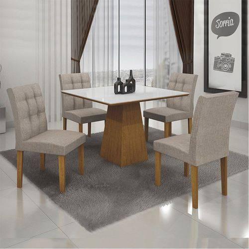 Conjunto Sala de Jantar Mesa Tampo Mdf/vidro 4 Cadeiras Itália Imbuia Mel - Leifer