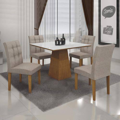Conjunto Sala de Jantar Mesa Tampo MDF/Vidro 4 Cadeiras Itália Leifer Imbuia Mel/Branco/Veludo