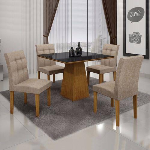 Conjunto Sala de Jantar Mesa Tampo MDF/Vidro 4 Cadeiras Itália Leifer Imbuia Mel/Linho Bege