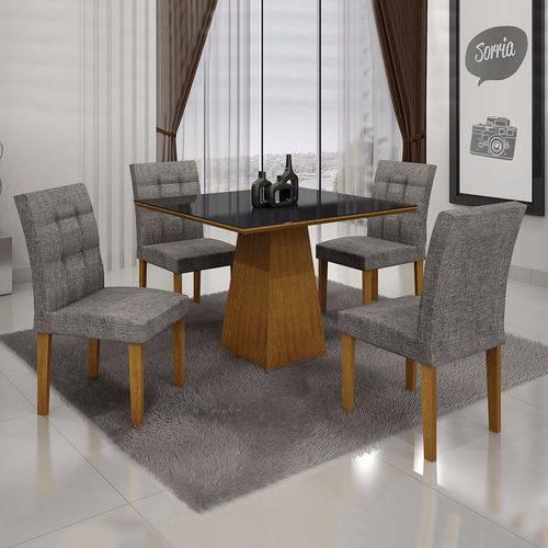 Conjunto Sala de Jantar Mesa Tampo MDF/Vidro 4 Cadeiras Itália Leifer Imbuia Mel/Linho Cinza