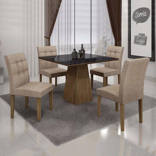 Conjunto Sala de Jantar Mesa Tampo MDF/Vidro 4 Cadeiras Itália Leifer Ypê/Linho Bege