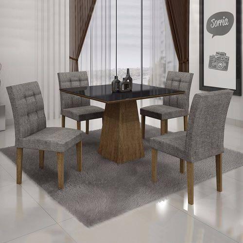 Conjunto Sala de Jantar Mesa Tampo MDF/Vidro 4 Cadeiras Itália Leifer Ypê/Linho Cinza