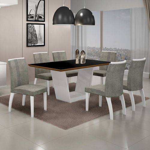 Conjunto Sala de Jantar Mesa Tampo MDF/Vidro 6 Cadeiras África Alemanha Leifer Flex Color