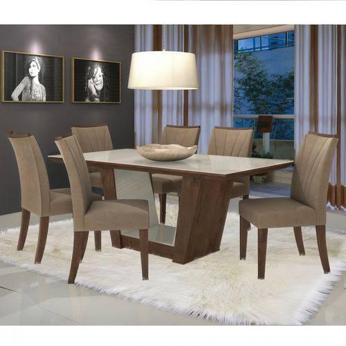 Conjunto Sala de Jantar Mesa Tampo MDF/Vidro 6 Cadeiras Apogeu I Móveis Lopas Imbuia/Animale Bege