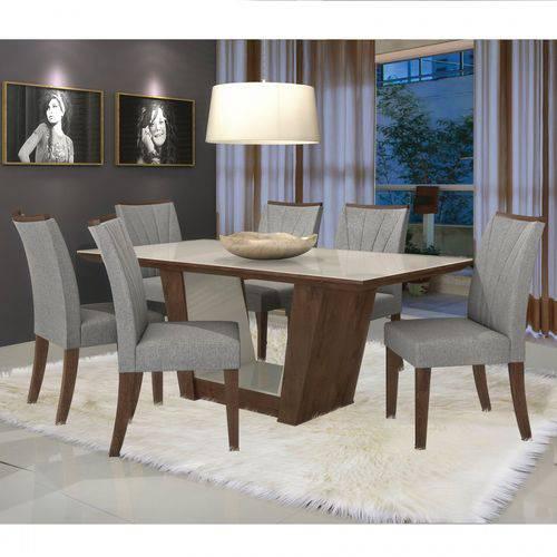 Conjunto Sala de Jantar Mesa Tampo MDF/Vidro 6 Cadeiras Apogeu I Móveis Lopas Imbuia/Rinzai Cinza