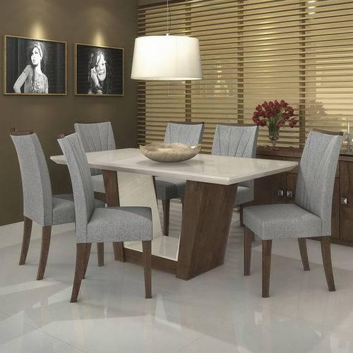 Conjunto Sala de Jantar Mesa Tampo MDF/Vidro 6 Cadeiras Apogeu IV Móveis Lopas Imbuia/Rinzai Cinza