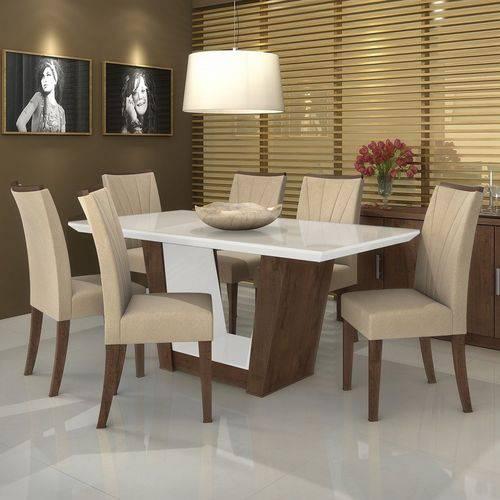 Conjunto Sala de Jantar Mesa Tampo MDF/Vidro 6 Cadeiras Apogeu VI Móveis Lopas Imbuia/Naturale