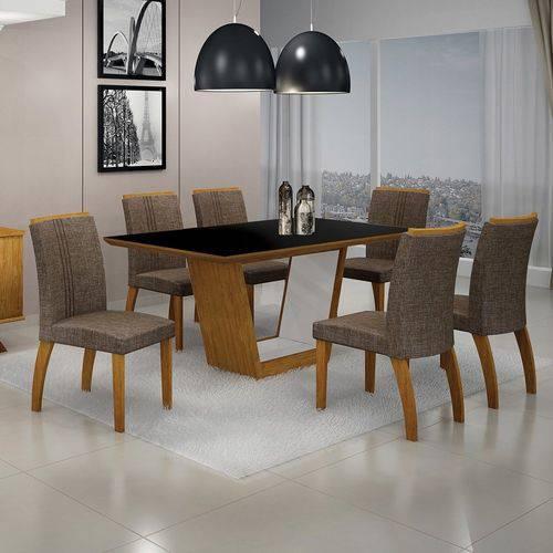 Conjunto Sala de Jantar Mesa Tampo MDF/Vidro 6 Cadeiras Linho Alemanha Leifer Flex Color Imbuia