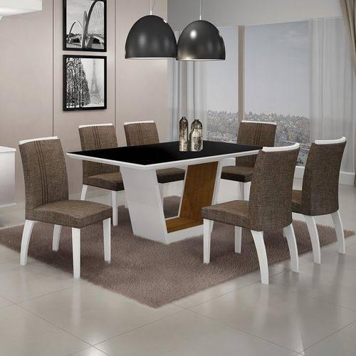 Conjunto Sala de Jantar Mesa Tampo MDF/Vidro 6 Cadeiras Linho Alemanha Leifer Flex Color