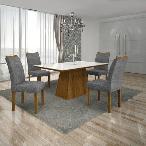 Conjunto Sala de Jantar Mesa Tampo MDF/Vidro Branco 4 Cadeiras Pampulha Leifer Canela/Linho Cinza