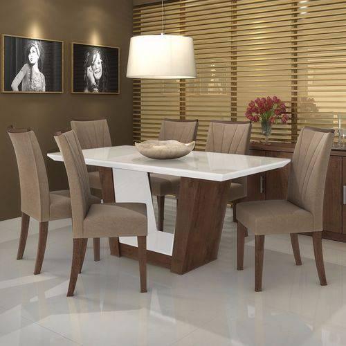 Conjunto Sala de Jantar Mesa Tampo Mdf/vidro Branco 6 Cadeiras Apogeu Móveis Lopas Imbuia