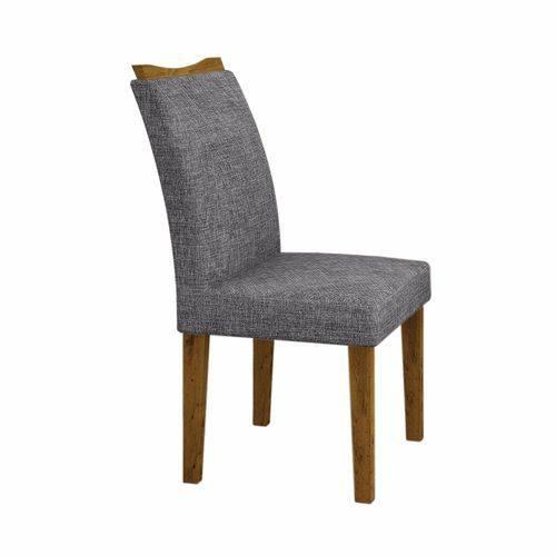 Conjunto Sala de Jantar Mesa Tampo MDF/Vidro Branco 6 Cadeiras Pampulha Leifer Canela/Linho Cinza