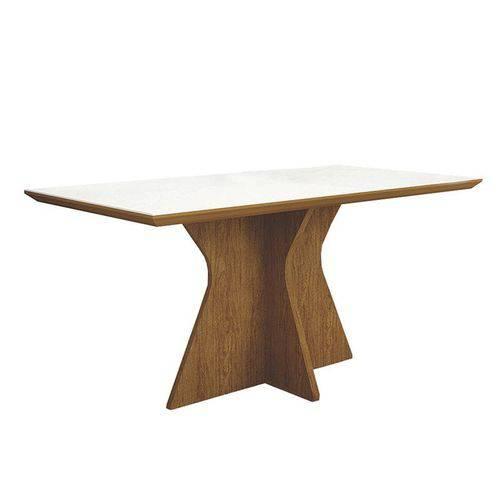 Conjunto Sala de Jantar Mesa Tampo Mdf/vidro Creta e 4 Cadeiras Olímpia Imbuia Mel - Leifer