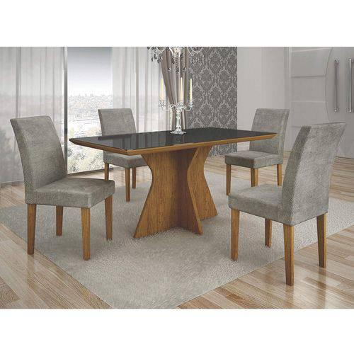 Conjunto Sala de Jantar Mesa Tampo MDF/Vidro Creta e 4 Cadeiras Olímpia Leifer Imbuia