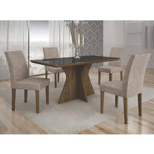 Conjunto Sala de Jantar Mesa Tampo MDF/Vidro Creta e 4 Cadeiras Olímpia Leifer Ypê/Preto/Animale