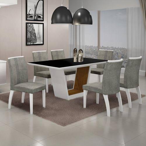 Conjunto Sala de Jantar Mesa Tampo Mdf/vidro e 6 Cadeiras Africa Alemanha Leifer Flex Color