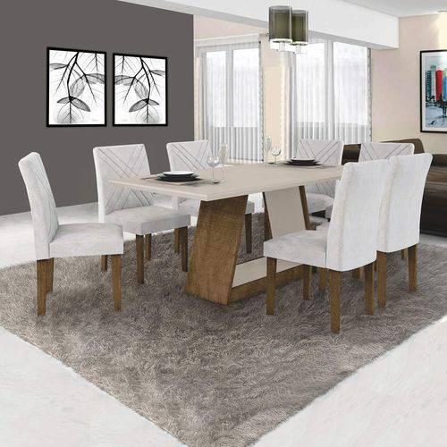 Conjunto Sala de Jantar Mesa Tampo MDF/Vidro e 6 Cadeiras Gênova Leifer Ypê/Off White/Pena Palha