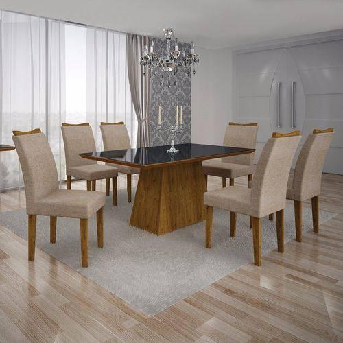 Conjunto Sala de Jantar Mesa Tampo MDF/Vidro Preto 6 Cadeiras Pampulha Leifer Canela/Linho Bege