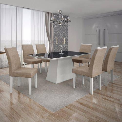 Conjunto Sala de Jantar Mesa Tampo Mdf/vidro Preto e 6 Cadeiras Pampulha Leifer Branco/linho Bege