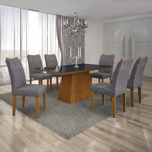 Conjunto Sala de Jantar Mesa Tampo Mdf/vidro Preto e 6 Cadeiras Pampulha Leifer Imbuia Mel/linho