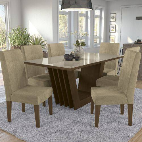 Conjunto Sala de Jantar Mesa Tampo MDP/Vidro e 6 Cadeiras Alecrim Kappesberg Marrom Walnut/Marrom