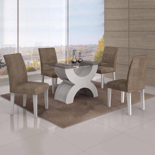 Conjunto Sala de Jantar Mesa Tampo Vidro 120cm 4 Cadeiras Olímpia New Leifer Branco/Animale