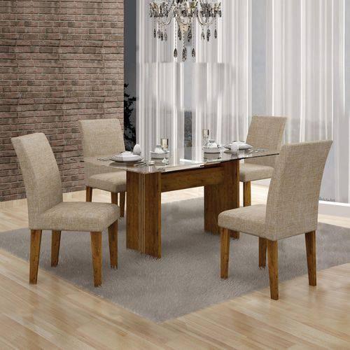 Conjunto Sala de Jantar Mesa Tampo Vidro 120cm Havaí e 4 Cadeiras Olímpia Leifer Canela/Linho