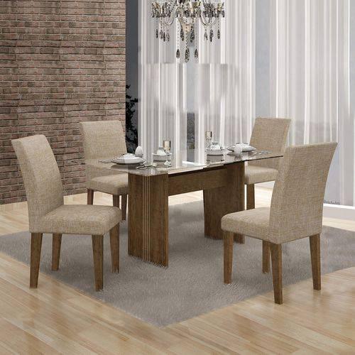 Conjunto Sala de Jantar Mesa Tampo Vidro 120cm Havaí e 4 Cadeiras Olímpia Leifer Ypê/Linho Bege