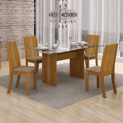 Conjunto Sala de Jantar Mesa Tampo Vidro 120cm Havaí e 4 Cadeiras Vitória Leifer Imbuia