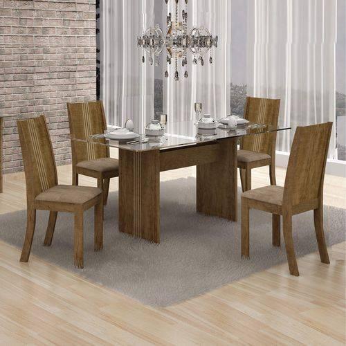 Conjunto Sala de Jantar Mesa Tampo Vidro 120cm Havaí e 4 Cadeiras Vitória Leifer Ypê/Animale