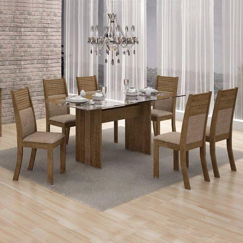 Conjunto Sala de Jantar Mesa Tampo Vidro 160cm 6 Cadeiras Hawai Leifer Ypê/Linho Bege