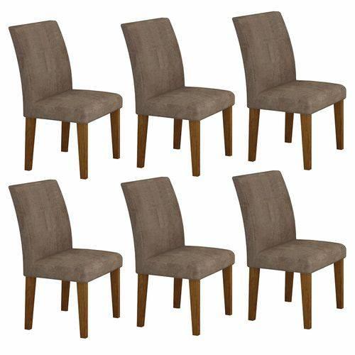 Conjunto Sala de Jantar Mesa Tampo Vidro 160cm 6 Cadeiras Olímpia New Leifer Imbuia Mel/Animale