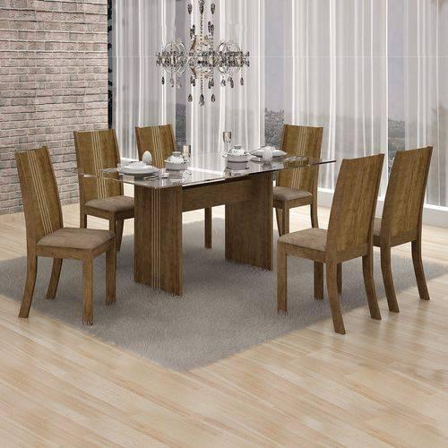 Conjunto Sala de Jantar Mesa Tampo Vidro 160cm Havaí e 6 Cadeiras Vitória Leifer Ypê/Animale