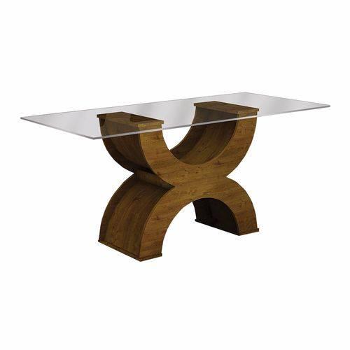 Conjunto Sala de Jantar Mesa Tampo Vidro 180cm 6 Cadeiras Olímpia New Leifer Canela/Animale