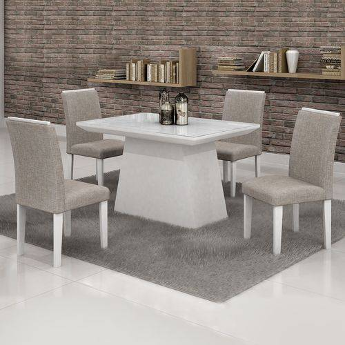 Conjunto Sala de Jantar Mesa Tampo Vidro Branco 4 Cadeiras Sevilha 120cm Cel Móveis Branco/ Linho