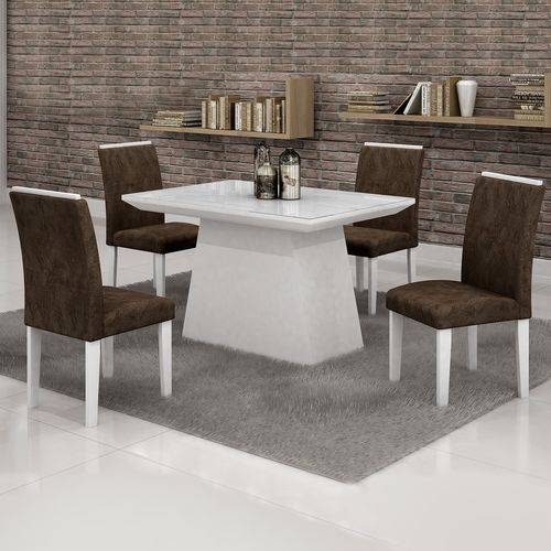 Conjunto Sala de Jantar Mesa Tampo Vidro Branco 4 Cadeiras Sevilha 120cm Cel Móveis Branco/ Suede
